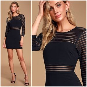 Lulu's | Black Long Sleeve BodyConDress